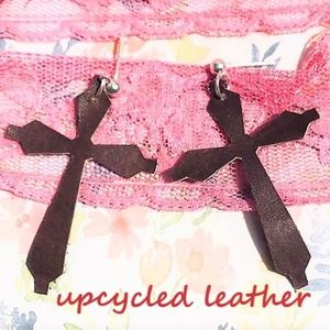 Upcycled handcrafted genuine leather cross earring